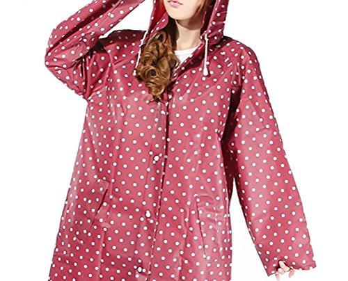 Donne Rainwear Impermeabile Pioggia con cappuccio Tasca Manica Lunga di Polka Dots stile dolce all'aperto Escursionismo Raincoat Pioggia Trench Poncho rossi