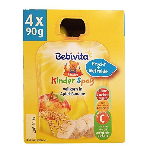 Bebivita - Kinder Spaß Vollkorn in Apfel-Banane Quetschies Baby Früchtebrei Dessert - 4x90g/360g
