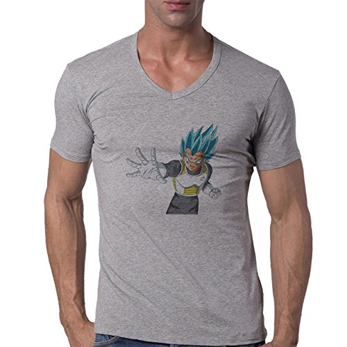 Dragon Ball Super Vegeta Smile Attack Ready Blue Hair Herren V-Neck T-Shirt Grau
