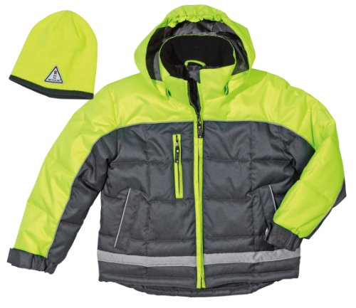 Fristads Winterjacke Kids, Leuchtfarben, inklusive passender Mütze