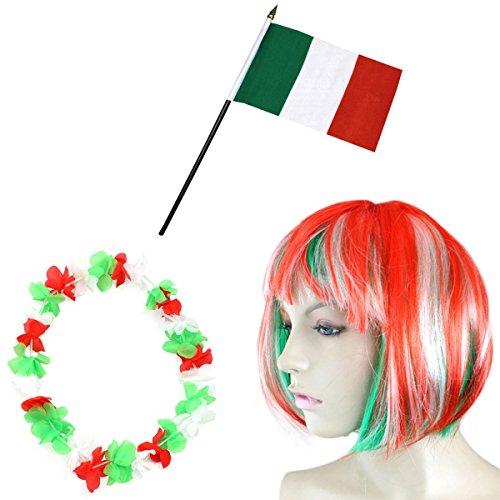 Italien Kostüm Un - Sonia Originelli Fan-Paket-4 WM Fußball Kurzhaar Perücke Hawaiikette Flagge Party Farbe Italien