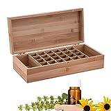 Lembeauty Aufbewahrungsbox für ätherische Öle, Holz, für Ölflaschen, tragbar, Massivholz, Bambus, für 5 ml/10 ml/15 ml Aromatherapie-Flaschen C: 26-Slots