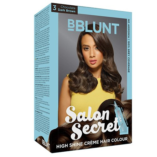 BBLUNT Salon Secret High Shine Creme Hair Colour, Dark Brown 3, 100g with Shine Tonic, 8ml