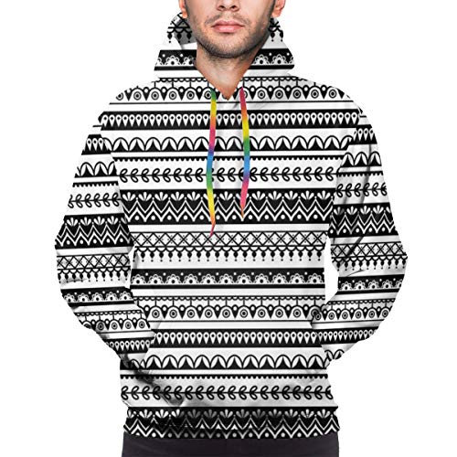 AZXGGV Men's Hoodies Sweatershirt,Tribal Mehndi Pattern with Striped Henna Tattoo Mandala Damask Folk Effects,M