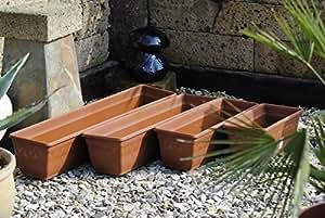 pflanzkasten blumenkasten balkonkasten 2er set mit wasserspeicher kunststoff terracotta 40cm. Black Bedroom Furniture Sets. Home Design Ideas