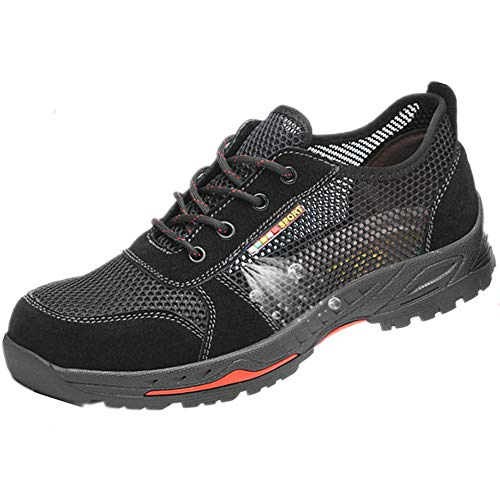 SUADEEX Herren Damen Arbeitsschuhe Stahlkappe Sicherheitsschuhe Atmungsaktiv Leicht Sportlich Trekking Wanderhalbschuhe Mesh Schutzschuhe Hiking Schuhe