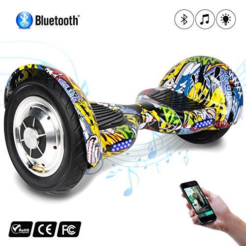 "Cool&Fun Bluetooth E-Board Elektro Scooter E-Balance E-Skateboard 10\"" Luftreifen 350X2W (Hiphop)"
