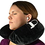 Nackenkissen Reisekissen aufblasbar – Nackenhörnchen fürs Flugzeug mit Fleece-Bezug, gratis Schlafmaske & Ohrstöpseln von Globeproof®
