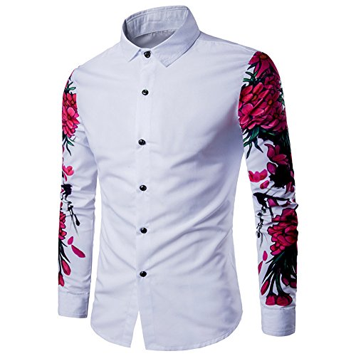Herren Bluse, feiXIANG Herren Langarm Hemd Business Slim Fit Hemd Bluse Weiß