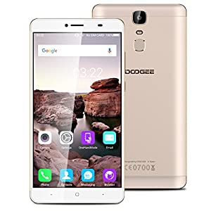 DOOGEE Y6 Max 6.5 inch Ultra Large Screen IPS Android 6.0 4G Smartphone Marshmallow MT6750T Octa Core 1.5GHz Mobile Phone 3GB RAM 32GB ROM Fingerprint Recognition Quick Charge Dual SIM Cellphone with 4300mAh Battery Smart Wake Smart Gestures(Gold)