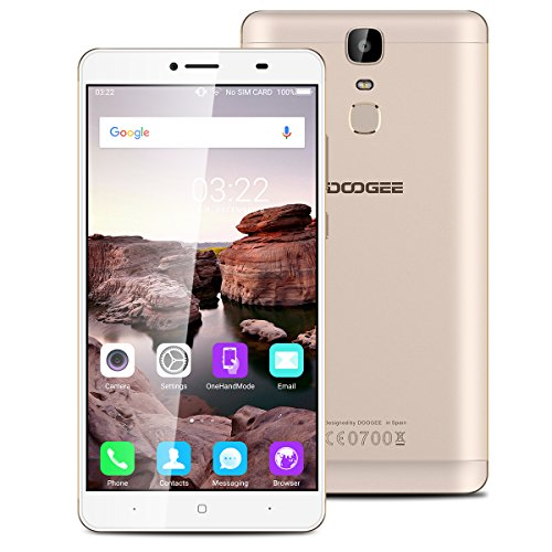 "Doogee Y6 Max Unlocked 4G Smartphone, 6.5"" Large Screen Android 6.0 MT6750T Octa Core 3GB RAM+32GB ROM Dual SIM Moible Phone with Dual Camera (Samsung 13.0MP/ Hynix 5.0MP) GPS 4300mAh Battery Quick Charge Fingerprint Sim-free Cell Phone (Gold)"