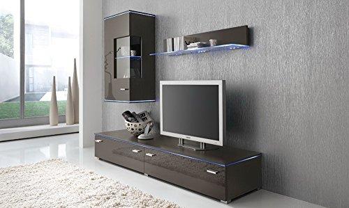 Anbauwand 3-tlg. Hochglanz Grau, TV-Element B: 110 cm, Hängevitrine B: 50 cm, Glasbodenpaneel B: 100 cm, Mindestbreite: ca. 180 cm, Tiefe: ca. 42 cm