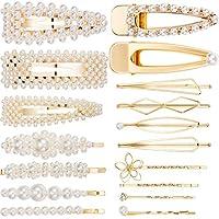 Pearls Hair Clips Metal Hair Pins Hair Barrettes Accessories Bridesmaid Hair Clips for Women Girls (18 Pieces, 17 Styles, Gold)