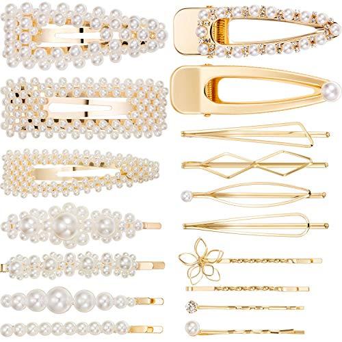 Clip de Pelo de Perlas Pinza de Pelo de Metal Hebillas de Pelo Accesorios de Pelo de Dama de Honor para Mujeres Niñas (18 Piezas, 17 Estilos, Dorado)