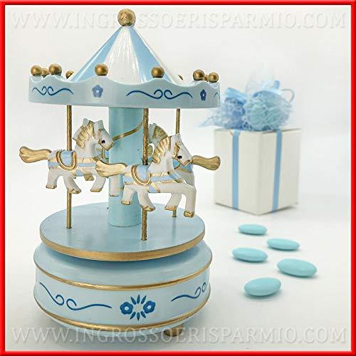 Ingrosso e Risparmio Schön und Aufsparung Original Spieluhr Karussell mit Pferd, Jostmobile Luna Park, Weiß und Himmelblau aus Kunststoff, Gastgeschenke für eine Maske.