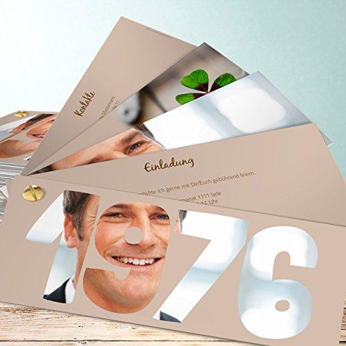 40 Geburtstag Einladungen, Jahrgang 1976 200 Karten, Kartenfächer 210x80 inkl. weiße Umschläge, Braun