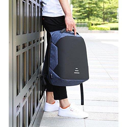 Yoome Zaino per laptop da viaggio Anti Theft Slim Resistente Laptop Zaino con porta USB di ricarica, Resistente allacqua College Computer Bag per gli uomini Adatto a Laptop da 15,6 pollici - Blu Nero