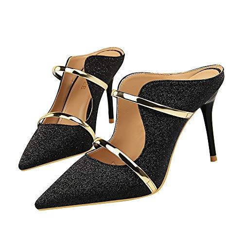 Sandalen High Heels Damen Pumps sexy offene Zehen Pailletten Tuch hohle Stilett Party Hausschuhe, schwarz, 39 Edel Stiletto