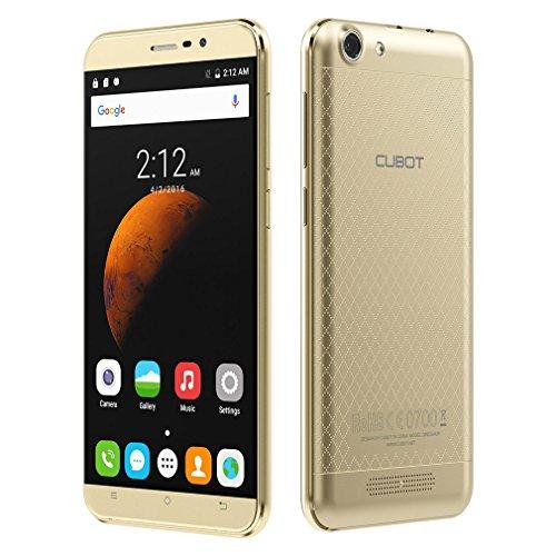 Cubot Dinosaur Smartphone, 5,5 Zoll 1280x720HD Android 6.0 Dual-SIM 3GB RAM + 16GB ROM, 13MP Hauptkamera, 4150mAh Akku IPS 2.5D gebogener Bildschirm und Rutschhemmende Rückabdeckung (Gold)