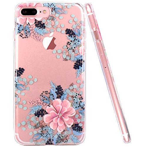 Coque iPhone 7 Plus, Coque iPhone 8 Plus, JIAXIUFEN TPU Coque Silicone Étui Housse Protecteur Fleur Floral - Red Rose Begonia Flower