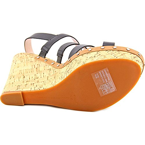 French Connection Deon Cuir Sandales Compensés Black-Safari Sand