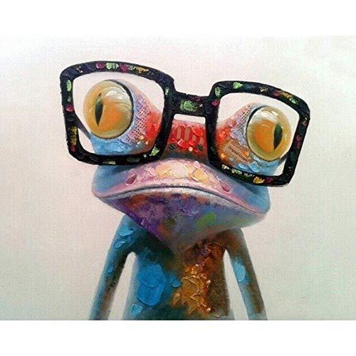 WAZHCY Malen Nach Zahlen Für Kinder Für Erwachsene Frosch Mit Brille DIY 40X50CM No Frame
