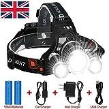 Best und die hellste LED-Scheinwerfer 6000 Lumen Wiederaufladbare LED Scheinwerfer Taschenlampe, 3 Lichtern 4 Modi Super Hell Tactical LED Scheinwerfer Freisprecher für Laufen Camping Angeln Radfa (T25)