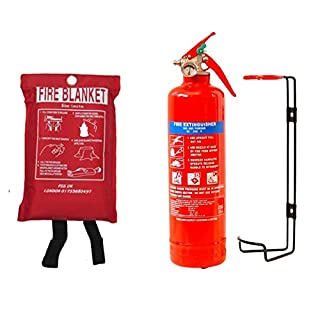 NEW FSS UK PLUS 1 KG POWDER ABC FIRE EXTINGUISHER WITH FIRE BLANKET HOME OFFICE KITCHEN