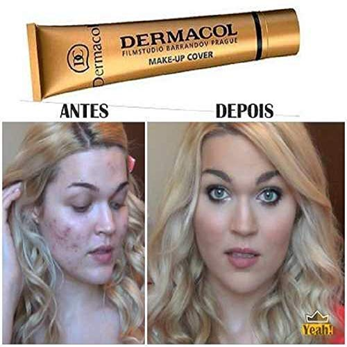 Dermacol Full Coverage Foundation | Long Lasting Waterproof Makeup Cover Cream SPF30 | Hypoallergenic & Light Weight Liquid | Tattoo, Acne, Spots, Under-eye Cover-up | Light Beige Apricot 207, 30g