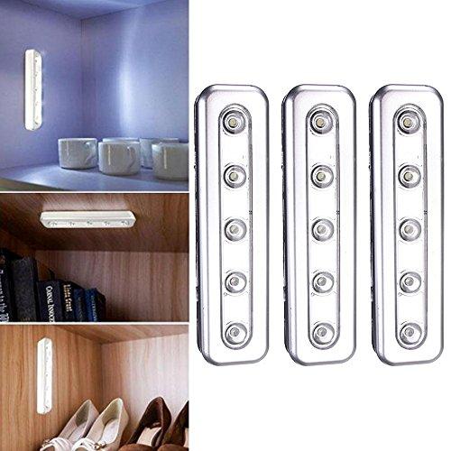 3Stück Silber LED Stick Bar Light mit Klebestreifen für Schränke, unter Treppen, Camping, Autos, Schränke,, Loft-, Schuppen, Küche (Lautsprecher-draht-anschluss Aber)