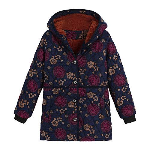 ❤️ Abrigo de algodón para Mujer de Gran tamaño, Womens Winter Warm Button Outwear Estampado Floral Bolsillos con Capucha Vintage Oversize Coats Outwear Absolute