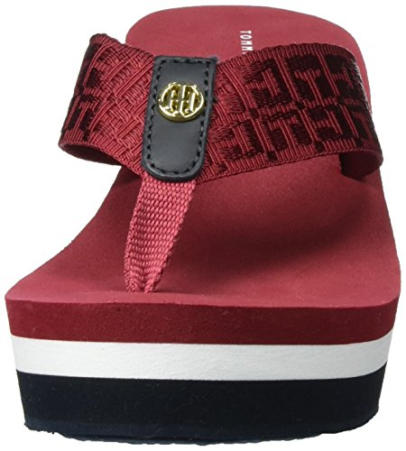 Tommy Hilfiger M1285ariah 2d, Sandales Bout Ouvert Femme Rouge (Scooter Red 614)
