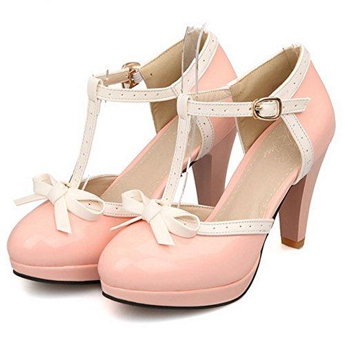Zanpa Femmes Classique T Strap Chaussures À Talons D Orsay Rose Plage Sandales