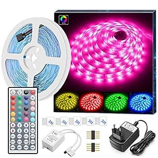 MINGER LED Strip Lichtband, 5M LED Streifen RGB SMD 5050 LEDs Band Beleuchtung, Farbwechsel LED Leiste Lichterkette mit IR Fernbedienung und Netzteil für von Haus, Küche, Weihnachtsdekoration