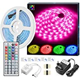 MINGER LED Ruban 5M 5050 RGB SMD Multicolore Bande LED Lumineuse Non-Etanche avec Télécommande à Infrarouge 44 Touches et Alimentation 12V décoration pour Chambre, Noël, Fête, etc.