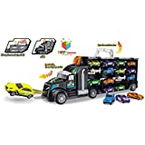 Toys Bhoomi 2 in 1 Huge Transport Car Long Haul Carrier Truck Garage Kids Toys for Boys Girls Case with 12 Vehicles - Stores Upto 28 Cars