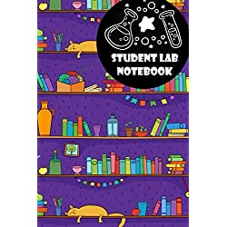 Student Lab Notebook Notebook: Student Lab Notebook Notebook, books, cat, shelves, frame design style, Funny books Student Lab Notebook, books Lab Notebook , books Student Notebook , books gifts