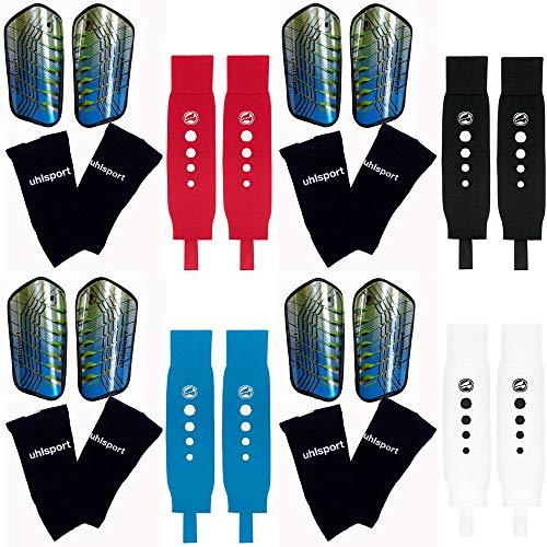 Die Sportskanone Kinder Fußball Set Defense Uhlsport Schienbeinschoner mit Tube Socks und Jako Stutzen (Jako-Blau, Bambini (-120cm))