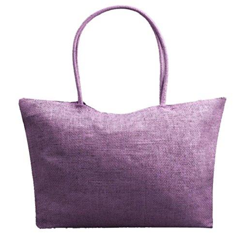 Vovotrade® Le donne di colore della caramella borsa da spiaggia a tracolla grande paglia (Bianco) Porpora
