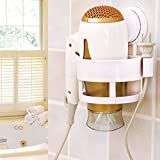 Swarish Bathroom Hair Dryer Holder Rack with Vacuum Suction Cup Wall Mount Round Hairdryer Stand Bathroom Organizer Accessories- Random Colour