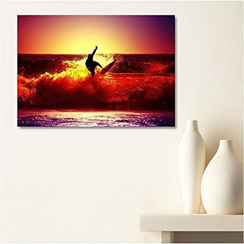 AUX Prix Canons–cuadro lienzo Canvas Ocean surfista rodillo tumbado sol 50x 70cm