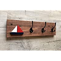 3 hook coat rack with yacht motif
