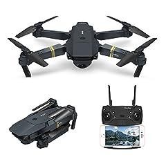 Idea Regalo - EACHINE Drone con Telecamera, E58 Pieghevole Drone con WiFi FPV HD 720P App Mobile Controllo Grandangolare Selfie Drone modalità di Attesa in Altitudine
