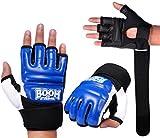 BOOM PRIME blau Leder Körper Kampf GEL Handschuhe MMA Boxing Boxsack Kampfsport Klein