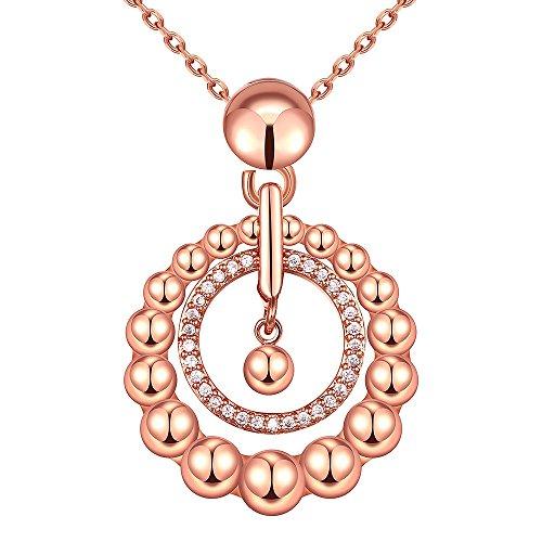 (City Ouna® Swarovski Elemente heißen Rose vergoldete freundlich Kupfer Zirkonia Opal Schmuck Halskette für Frauen Mädchen Damen mit Langen Kette Valentine Geschenk,Weihnachten Geschenk)