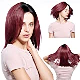 Bob Wig Ombre 1B Red Perruque Bob Yaki Straight Wig Femme Courte Lace Wig Cheveux Naturel pour Black Ombre Hair Wig Rouge Lisse Bleached Knots Lace Wig Red Perruque Cheveux Humain pas Cher 14 pouce
