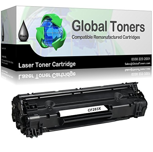 Global Toners HP CF283X 83X Toner Cartridge Compatible for HP LaserJet Pro  MFP M225dn M225dw M225rdn,LaserJet Pro M201n M201dw M202n M202dw, Black
