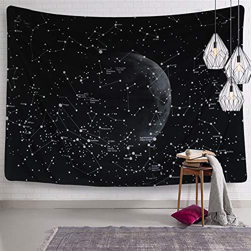Dremisland galassia costellazione arazzo indiano boemo mandala attaccatura a muro arazzo nero per natura soggiorno camera da letto dormitorio decor (mappa delle costellazioni, l / 148x200cm)