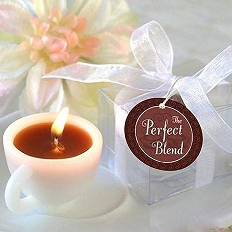 La Cabina Bougies Parfumées Forme de Tasse de Café Tealight Bougie Votive Décorations de la Maison Cadeaux Bougies Décorations pour Mariage Anniversaire