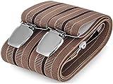 Hosenträger für Herren breit extra starken 3.5 cm mit 3er Clips Y Form lange für Männer und Damen Elegant Hose alle Farbe (Beige 7)